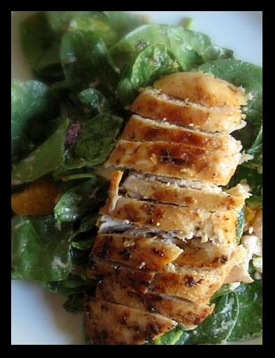 Grilled Chicken Over Spinach Salad