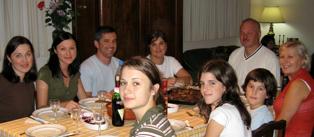 Dinner with our host family