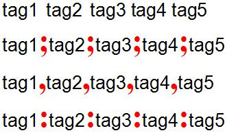 Example of tag delimiter problem