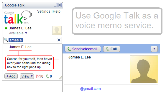 Google Talk voice memo service
