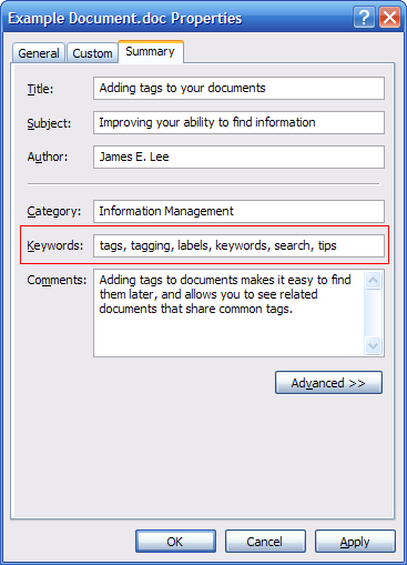 SCREENSHOT: Adding tags to a document