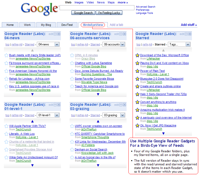 Google Homepage Reader Gadget Birds-Eye View