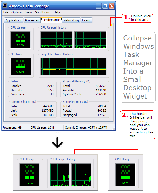 SCREENSHOT: Windows task manager collapse to widget