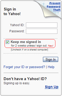 Yahoo keep me signed in