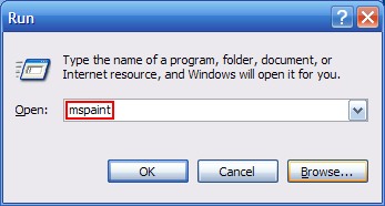 screenshot of run dialog with mspaint